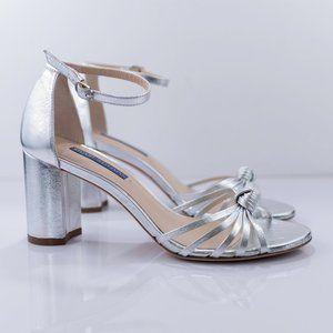 Stuart Weitzman Sutton Metallic Block Heel Sandal